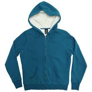 Faded Glory teal fleece-lined zipper hoodie sz L